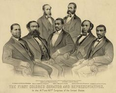 """""""The First Colored Senator and Representatives in the 41st and 42nd Congress of the United States,"""" 1872 Artist: Currier & Ives / Library of Congress Black Authors, Booker T, National Convention, Library Of Congress, Democratic Party, Black History, American History, American Art, The One"""