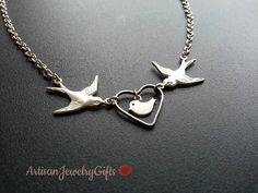 Silver Sparrows Baby Bird Heart Necklace from ArtisanJewelryGifts.etsy.com