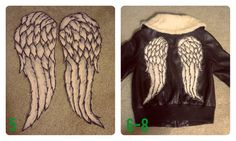 I recently became obsessed with The Walking Dead (but mainly Daryl) and I didn't see any good DIY tutorials for his awesome angel wing jacket, so I decided to make my own. Pictures of Completed. Walking Dead Tattoo, Walking Dead Clothes, Steampunk Cosplay, Toddler Halloween Costumes, Stuff And Thangs, Daryl Dixon, Diy Clothes, Diy Fashion, Sewing Crafts