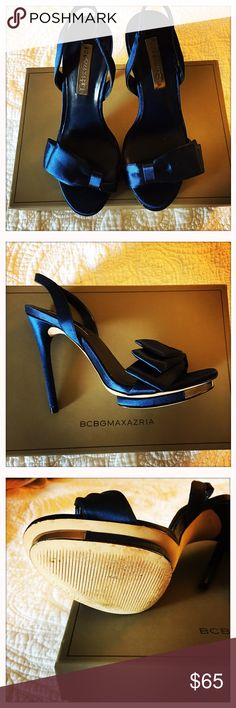 BCBG blue satin shoes Purchased to wear for our wedding.  They ended up being too tall as we were getting married on grass.  Only worn inside to practice walking and haven't been worn outside ever. BCBGMaxAzria Shoes Heels