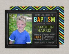 LDS Baptism Invitation Printable for Boys Chalkboard by MeckMom