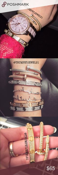 🆕Titanium Crystallized Love Bracelet +Screwdriver BRAND NEW! PRICE DROP SALE 💞 🔹TITANIUM STEEL Nail Bracelet or Crystallized Love Bracelets with Matching Screwdrivers 🔧🔩 for ONLY $65! 🔹Regular $110 EACH 🚫BUNDLE 2/$120 or 3/$150🚫 🔹Unisex Sizes16cm, 19cm (other sizes can be custom made!) 🔹Each bracelet comes sealed + Velour Dust bags + FREE GIFT BOX     🌟Each crystal is SWAROVSKI. Extremely high quality!🌟     🚫 Please comment the size & color below 🚫 🔹Available in Gold, Rose…