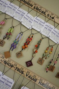 Book Thongs, nice display idea, paper beads good idea