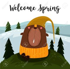 Welcome Spring.Happy Groundhog Day Design With Cute Groundhog-.. Royalty Free Cliparts, Vectors, And Stock Illustration. Image 69470342.