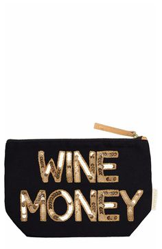 Keeping the stash of cash or other small essentials in this glamorous pouch featuring eye-catching, handmade sequin appliqués.