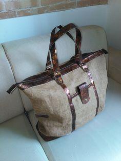 Weekender bag unisex, fabric juta and bronze leather