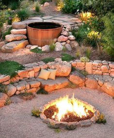 The benefits of a sloped backyard or sloped yard are more then simple plants' layouts! Make an amazing landscape in your sloped backyard instantly! Fire Pit Seating, Backyard Seating, Seating Areas, Diy Fire Pit, Fire Pit Backyard, Backyard Patio, Terraced Backyard, Patio Fire Pits, Steep Backyard
