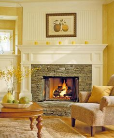 Bead board over the fireplace to divide the room and create a focal point, also like the mantle. chain in fireplace Country Fireplace, Fireplace Redo, Fireplace Remodel, Fireplace Ideas, Cottage Fireplace, Fireplace Cover, Farmhouse Fireplace, Fireplace Moulding, Classic Fireplace
