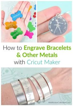 How to engrave jewelry with your cricut Engraving with Cricut Maker: How to center your images or text when engraving with your Cricut Maker. Learn where to find the best metal blanks and how to add hatch fill for a bolder engraved design! Cricut Projects To Sell, Cricut Tutorials, Cricut Ideas, Sewing Projects, Sewing Hacks, Craft Projects, Engraved Bracelet, Engraved Jewelry, Stamped Jewelry