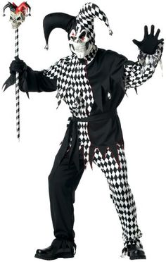 Men's Plus-Size - Black Evil Jester Costume - includes a shirt, pants, sash mask and headpiece.  For more information visit http://costumesforhalloweenideas.blogspot.com