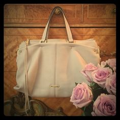 🍃🎀 In the Swing of Summer Chicest, prettiest shade of fawn ... All soft luxurious genuine leather with gorgeous detailing and subtle polished gold tasseled pull and hardware ... Tons of compartments and a long adjustable strap for a fabulous cross body ... First Love, then this Satchel Tote🍃💖 dustbag and all ... Rebecca Minkoff Bags