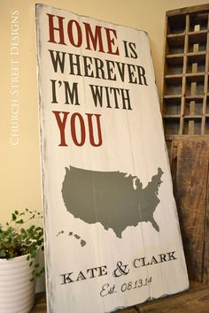 Home is Wherever I'm With You - Large Custom Map Sign with Hearts, Name & Established Date - Wedding Sign - Anniversary Sign - Customize the hearts to wherever you've lived - Church Street Designs