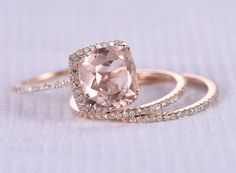 Wedding Ring Set Morganite Engagement Ring Big Cushion Morganite Rose gold Diamond Matching Band Stacking Ring Wedding Ring SetMorganite Engagement Big by milegem Wedding Rings Rose Gold, Wedding Jewelry, Wedding Bands, Gold Rings, Gemstone Rings, Bridal Rings, Gold Wedding, Rose Gold Square Engagement Ring, Morganite Engagement Rings