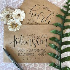The Rachel – Black, Gold, or Silver Ink - İnvitation Envelope Hand Lettering Envelopes, Calligraphy Envelope, Envelope Art, Envelope Design, Wedding Calligraphy, Brush Lettering, Modern Calligraphy, Lettering Styles, Wedding Fonts