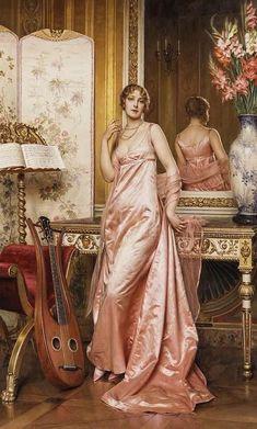 Renaissance Kunst, Renaissance Paintings, Victorian Paintings, Victorian Art, Classic Paintings, Beautiful Paintings, Romantic Paintings, Dress Painting, Painting Art