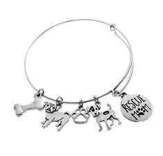 Customize your own rescue mom bracelet by selecting breeds. Dog Paws, Dog Mom, Dog Breeds, Bangle Bracelets, Bones, Silver, Jewelry, Bangles, Jewellery Making