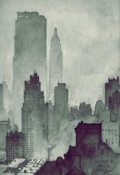 City by Hegle, NYC watercolor.