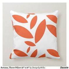 """Autumn, Throw Pillow 16"""" x 16"""" Accent your home with custom pillows from Zazzle and make yourself the envy of the neighborhood. Made from high-quality Simplex knit fabric, these 100% polyester pillows are soft and wrinkle-free. The heavyweight stretch material provides beautiful color.. #pillow #square #homedecor #home #interiordesign #interiors #interiorstyling #bedroom #bedroomdecor #oblong #zazzle #zazzlemade #zazzlecom #zazzlestore #autumn #leaves #orange #september"""