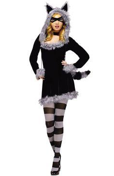 Sexy Furry Racy Raccoon Adult Halloween Costume