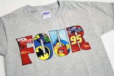 Birthday TWO, THREE, FOUR shirt for Boys - Thomas the Train, Batman, Superman, Angry Birds, Mickey Mouse - You Pick the theme. $24.99, via Etsy.