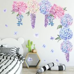 Purple Lavender Flower Vinyl Wall Stickers for Bedrooms - Easy Removable Peel and Stick Wall Decals - Modern Floral Wall Art Decor 3d Mirror Wall Stickers, Removable Wall Stickers, Vinyl Wall Stickers, Wall Decals, Bright Decor, Flower Ball, Floral Wall Art, Lavender Flowers, Wall Art Decor