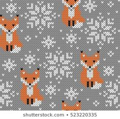 Jacquard Knitted Seamless Pattern Winter Background With Stock Vector (Royalty Free) 523220335 Foxes jacquard knitted seamless pattern. Winter background with cute animals. Fair Isle Knitting Patterns, Fair Isle Pattern, Knitting Charts, Knitting Stitches, Knitting Socks, Baby Knitting, Free Knitting, Scandinavian Style, Fair Isle Chart