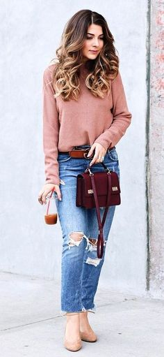 #winter #fashion / Tan Turtleneck + Burgundy Shoulder Bag #femininefashion,