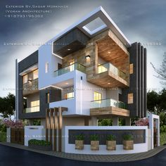 Architecture Discover Modern Residential House Bungalow Exterior By Arsagar Modern Residential House Bungalow Exterior By Arsagar Modern Bungalow Exterior, Modern Bungalow House, Dream House Exterior, Modern House Plans, Ranch Exterior, Bungalow House Design, House Front Design, Minimalist House Design, Modern House Design