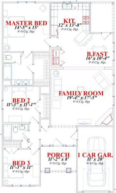 Craftsman Style House Plan - 3 Beds 2 Baths 1561 Sq/Ft Plan #63-152 Floor Plan - Main Floor Plan - Houseplans.com