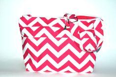 Libby - Camera Bag in  pink chevron stripe