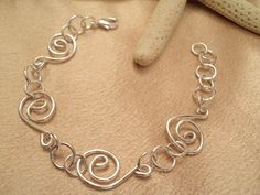 Silver Swirl Bracelet Silver Wire Bracelet by TreasureIsleGiftShop