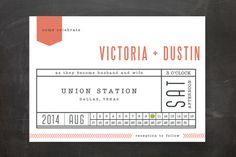Ticket to Love Wedding Invitations by Spotted Whale Design at minted.com