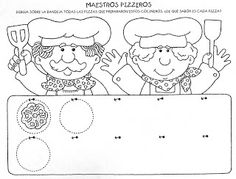Several cute activity sheets here (instructions in spanish) Abc Preschool, Community Workers, Pancake Day, Spanish Activities, Activity Sheets, Some Ideas, Coloring Sheets, Colorful Pictures, Games For Kids