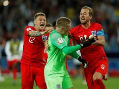 England beat Columbia 4-3 on penalty stroke to enter Quarter Finals on 03/07/2018. Jordan Pickford (C) celebrates after saving a penalty during the shootout with team mates. (Reuters Photo)