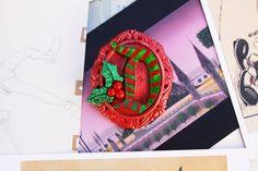 Holly Jolly  Disney D Christmas Brooch - Handmade Disney D Christmas Brooch - Disney D Cameo Brooch