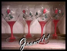Rose Wine Glass/Red Wine Glasses/Hand Painted Wine by GranArt