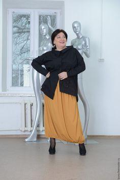 Купить Рубашка черная асимметричная с кружевной вставкой - черный, бохо, большие размеры, рубашка, хлопок