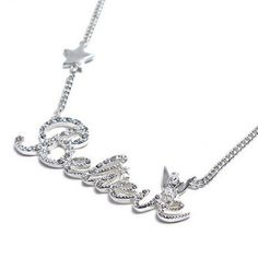 Disney Couture Crystal Silver Pave Believe Tinkerbell Necklace