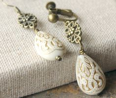Ivory Earrings Dangle Clip Earrings or Hooks Ivory gold Carved Bead Clip On Earrings Antique brass Drop Clipons Boucles D'oreilles clip E582...