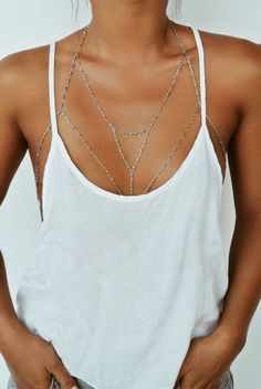 Mode Punk Body Chain multicouche Tassel Waist Chain Link Collier Harnais Hot