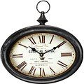 "Adeco Black Iron Vintage-Inspired Pocket Watch Style Oval Oblong Wall Hanging Clock ""Cheval Noir"" Home Decor, off- white Dial"
