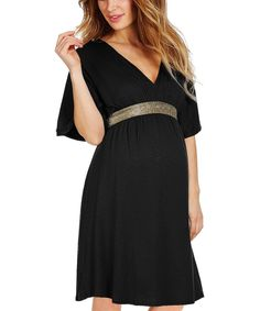 Look at this Envie de Fraise Black Belted Felicine Maternity/Nursing Empire-Waist Dress on #zulily today!