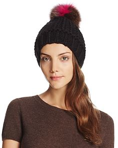 70d4ed3b5e3 Helene Berman Knit Beanie with Fox Fur Pom-Pom Jewelry   Accessories -  Bloomingdale s