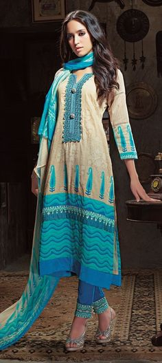 414410: Subtle colors in #cotton fabric. Perfect to dress like a diva at workplace? #salwaarkameez