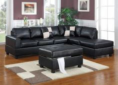 Define your living room style with the Sacramento Black Leather Sectional Sofa with Right Facing Chaise by Urban Cali by Urban Cali. This modular sectional sofa consists of a sofa and reversible chaise, which can be configured on either the right or the left side to accommodate a variety of spaces.  Two decorative throw pillows are included for added contrast and unbeatable value!