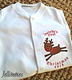 Personalised Baby's first christmas sleepsuit at jellibabies personalised baby and children's clothes and accessories