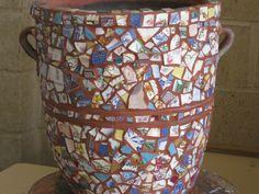 old pot add old broken china..voila a mosaic garden masterpiece :)