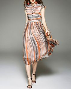 VIPme D.Fanni Orange Cap Sleeve Stripe Silk High Waist Midi Dress