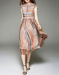 VIPme D.Fanni Orange Cap Sleeve Stripe Silk High Waist Midi Dress