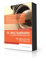 ITIL 2011 MALC complete examination Package:  PDF Textbook  45 days  access to elearning 45 days access to online exam preparation program Prepaid Exam Voucher. + Free exam concierge Service + Free 60 Day enrollment extensions to both eLearning and exam prep courses + Free advanced trainer support